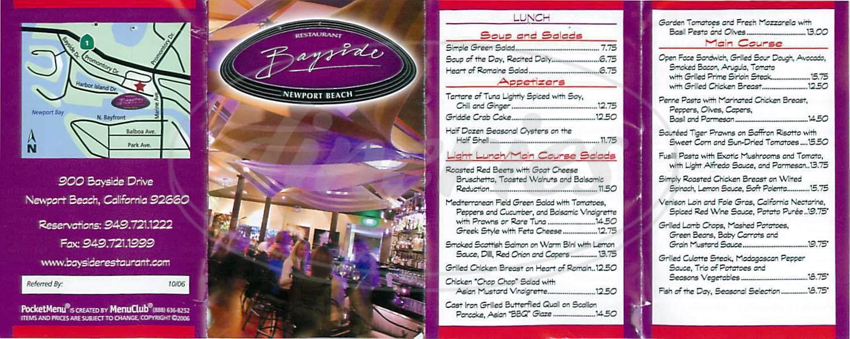 menu for Bayside Restaurant