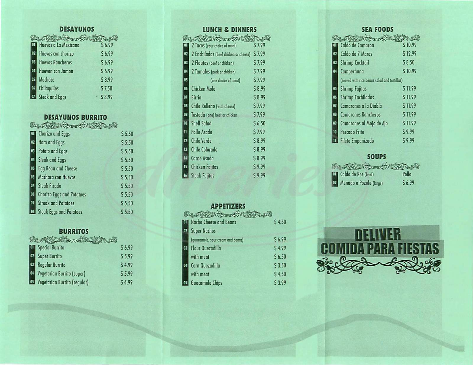 menu for Taqueria el Palmar