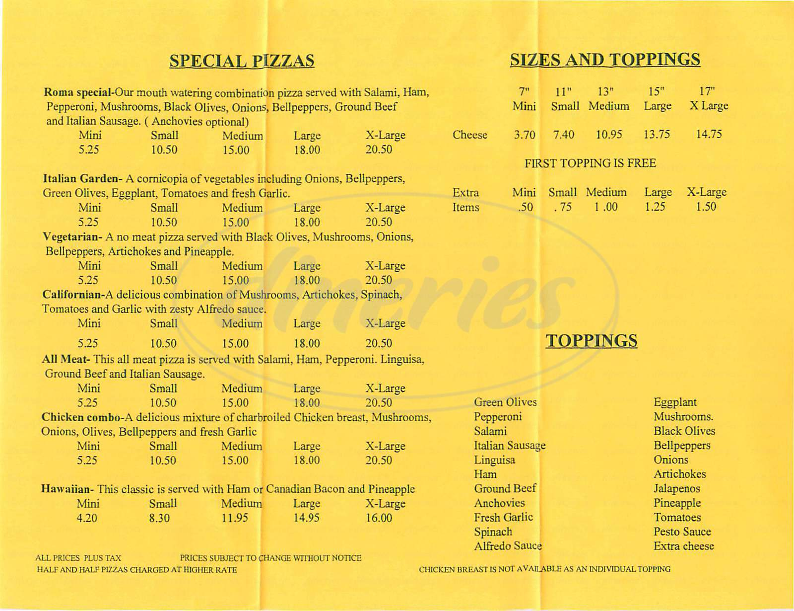 menu for Pizza Roma