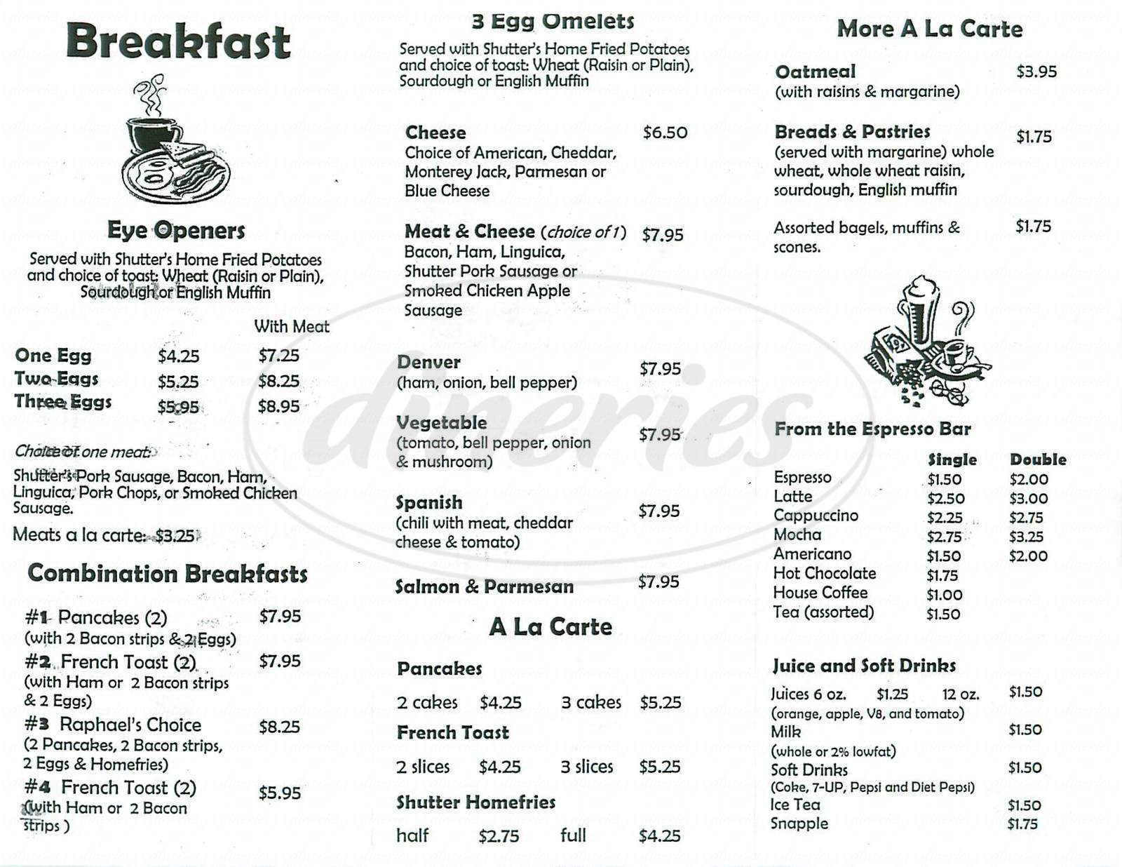 menu for Raphael's Shutter Café
