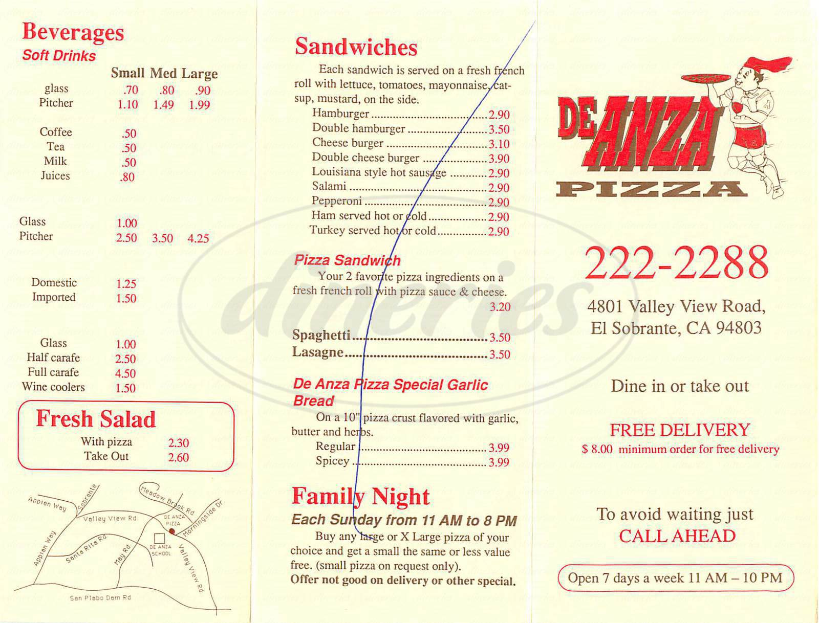 menu for De Anza Pizza
