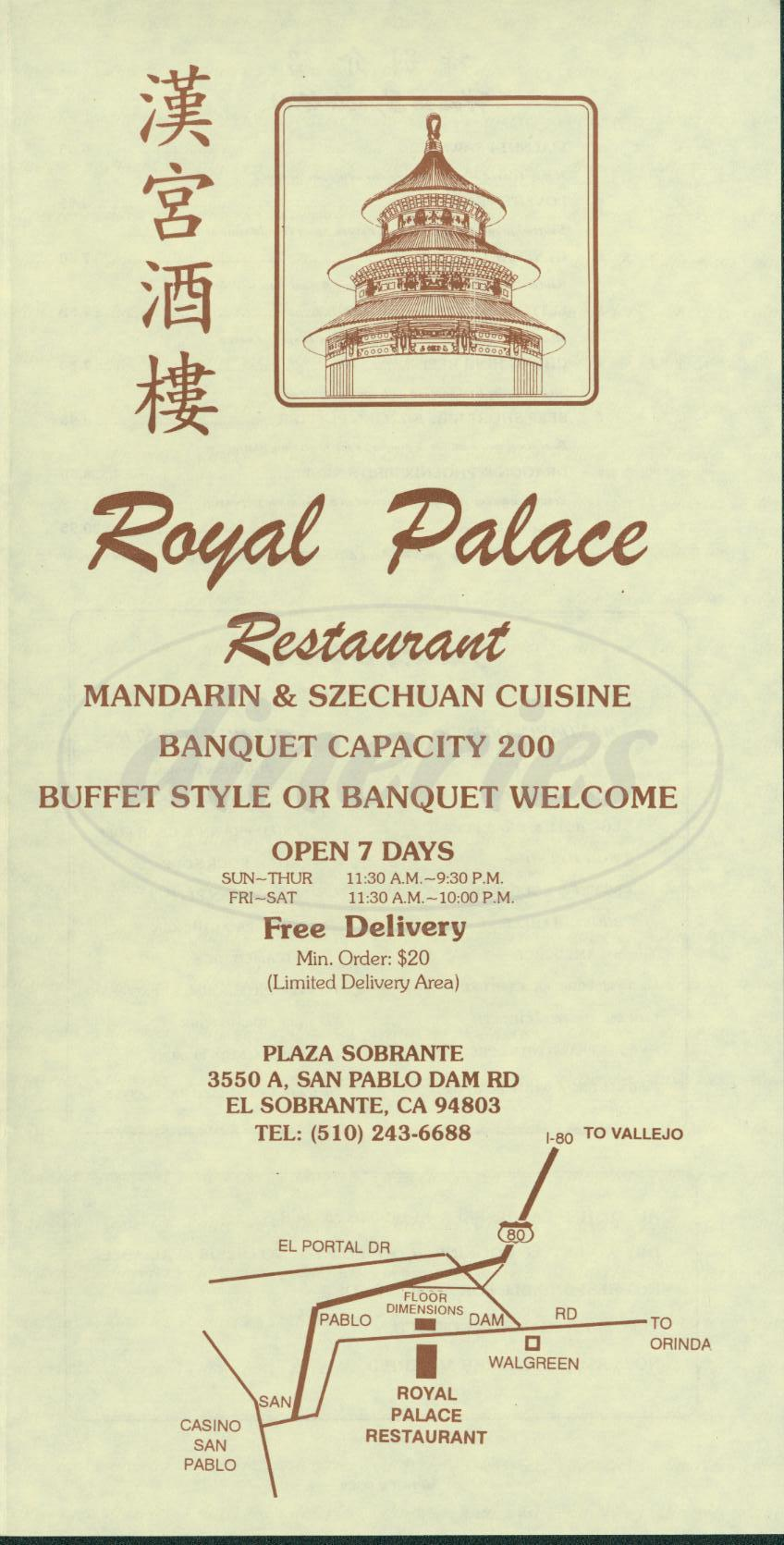 menu for Royal Palace Restaurant