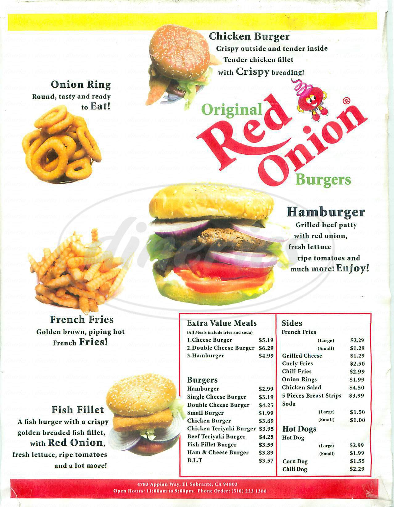 menu for The Red Onion