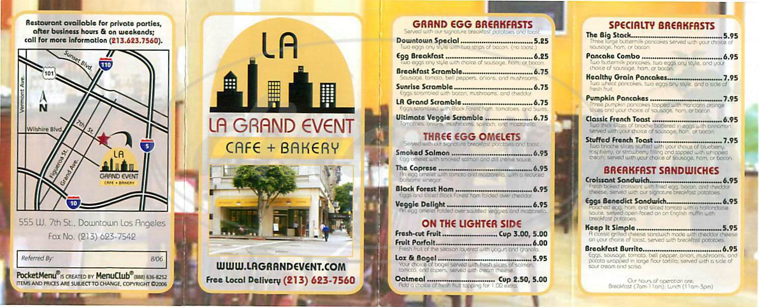 menu for La Grand Event
