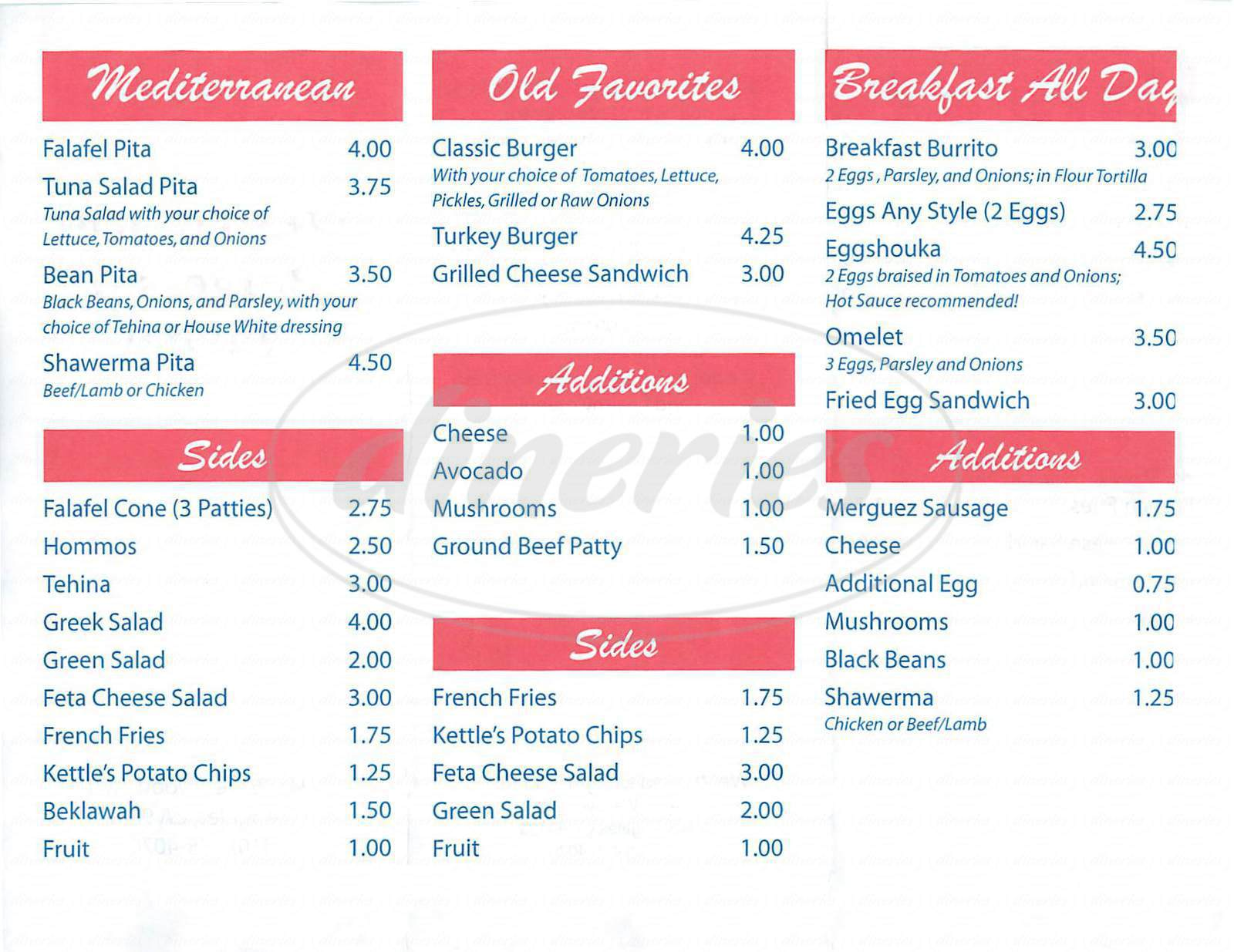 menu for Westwood Burgers & Falafel