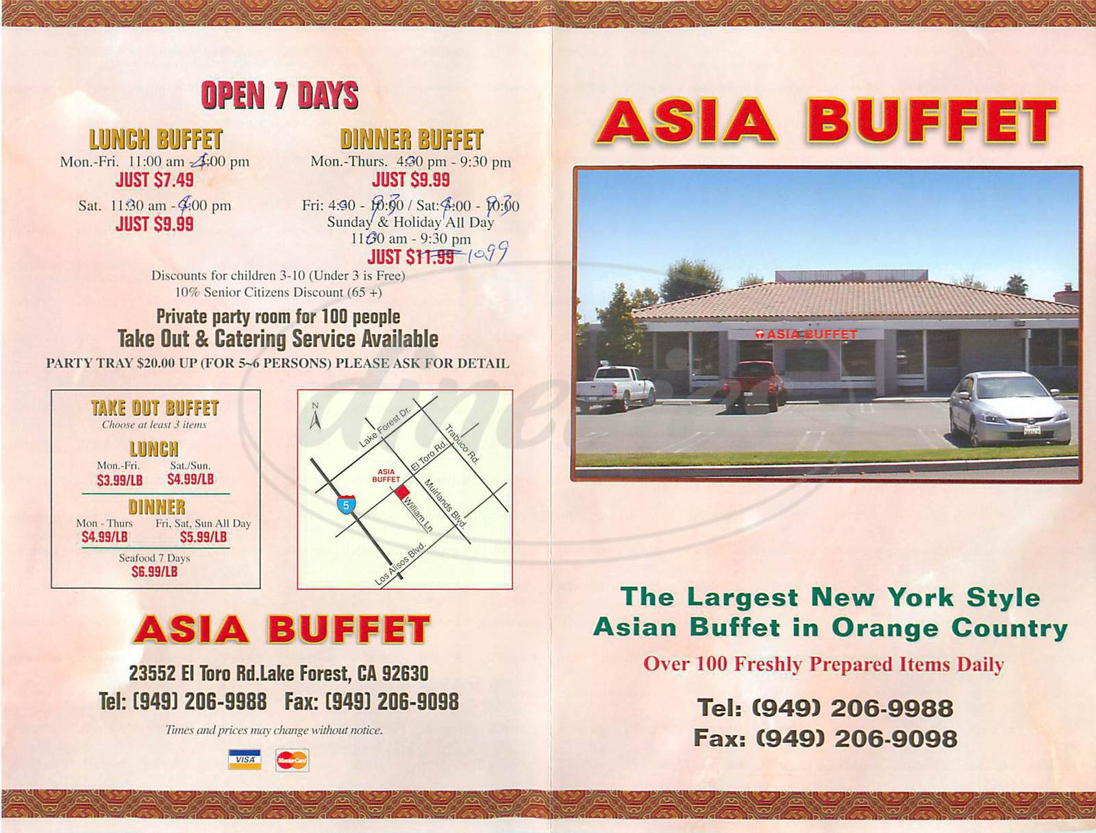 menu for Asia Buffet