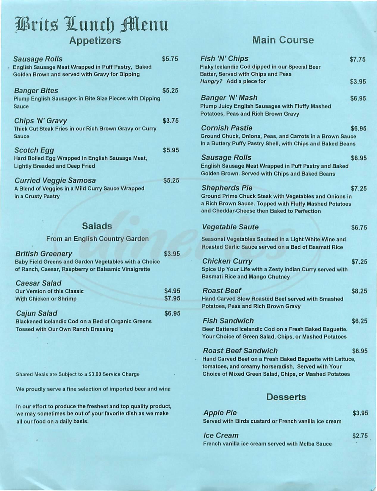 menu for Brits
