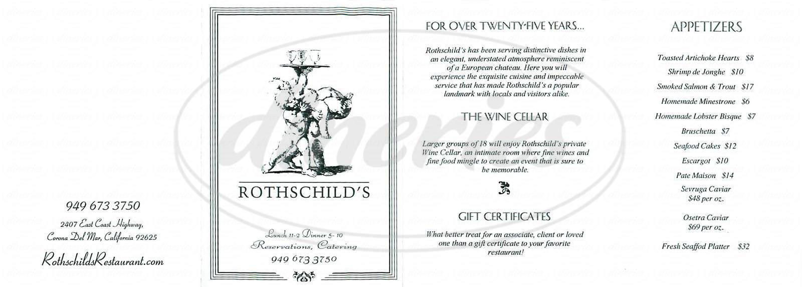 menu for Rothschilds Restaurant