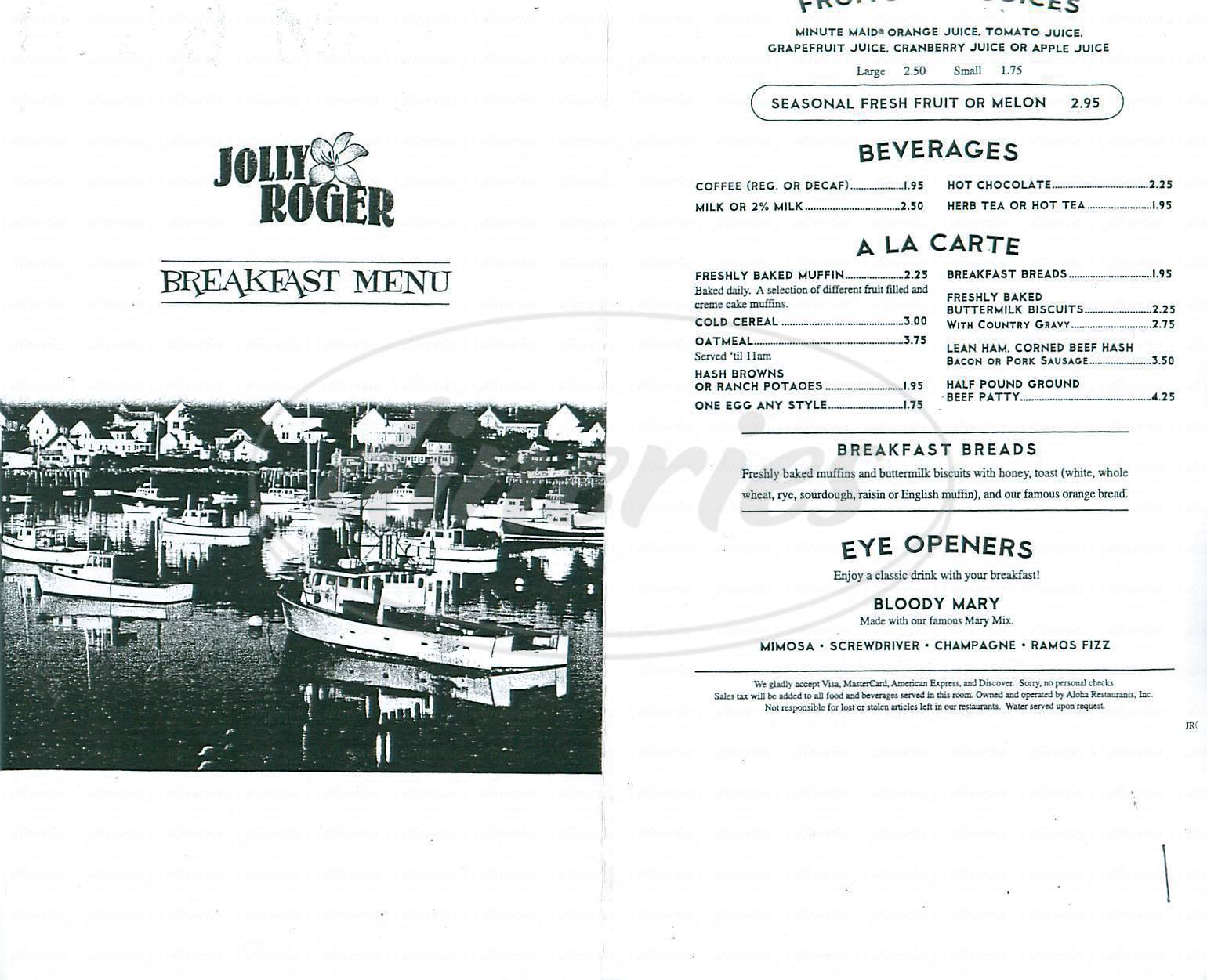 menu for Jolly Roger Restaurant