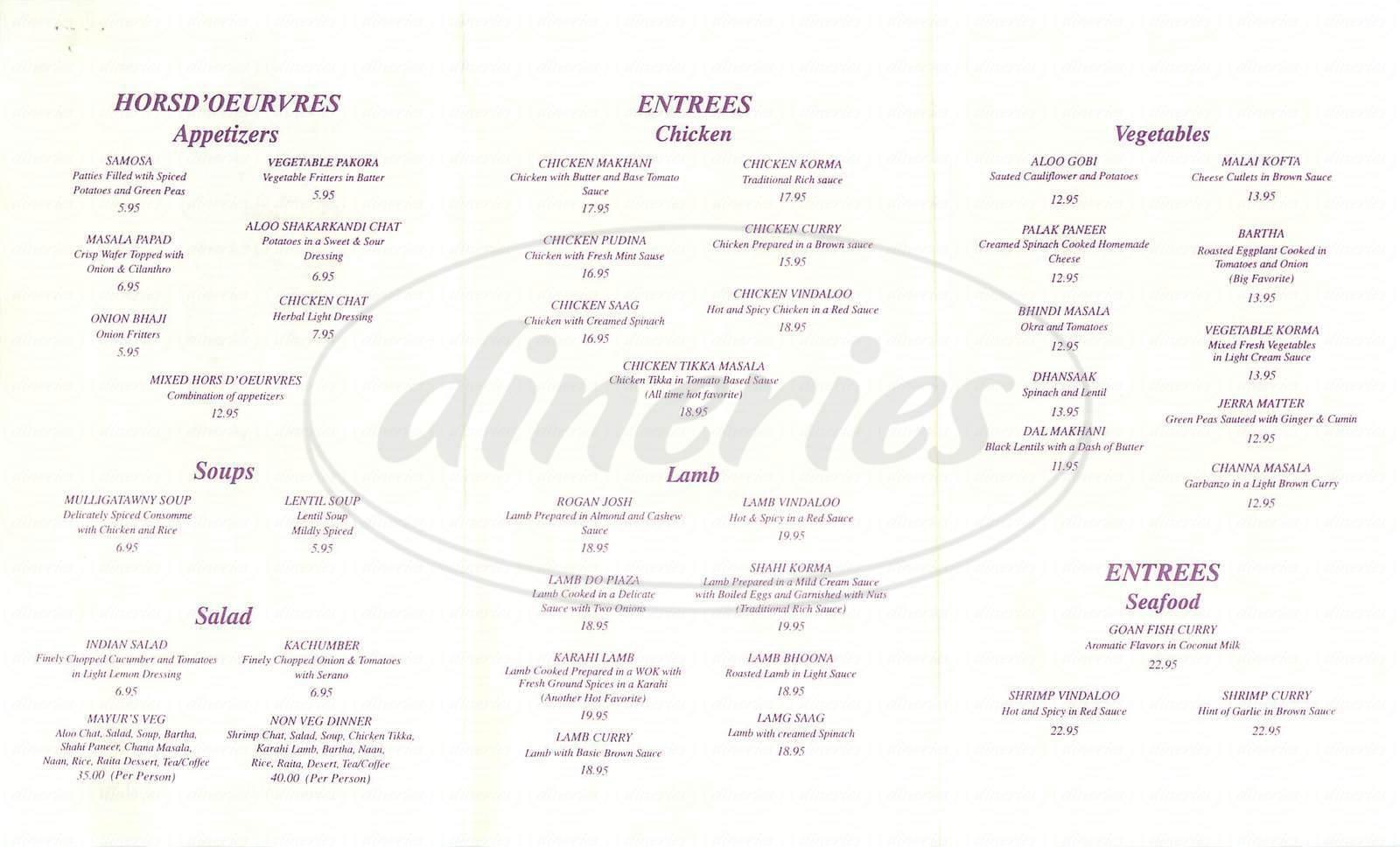 menu for Mayur Cuisine of India