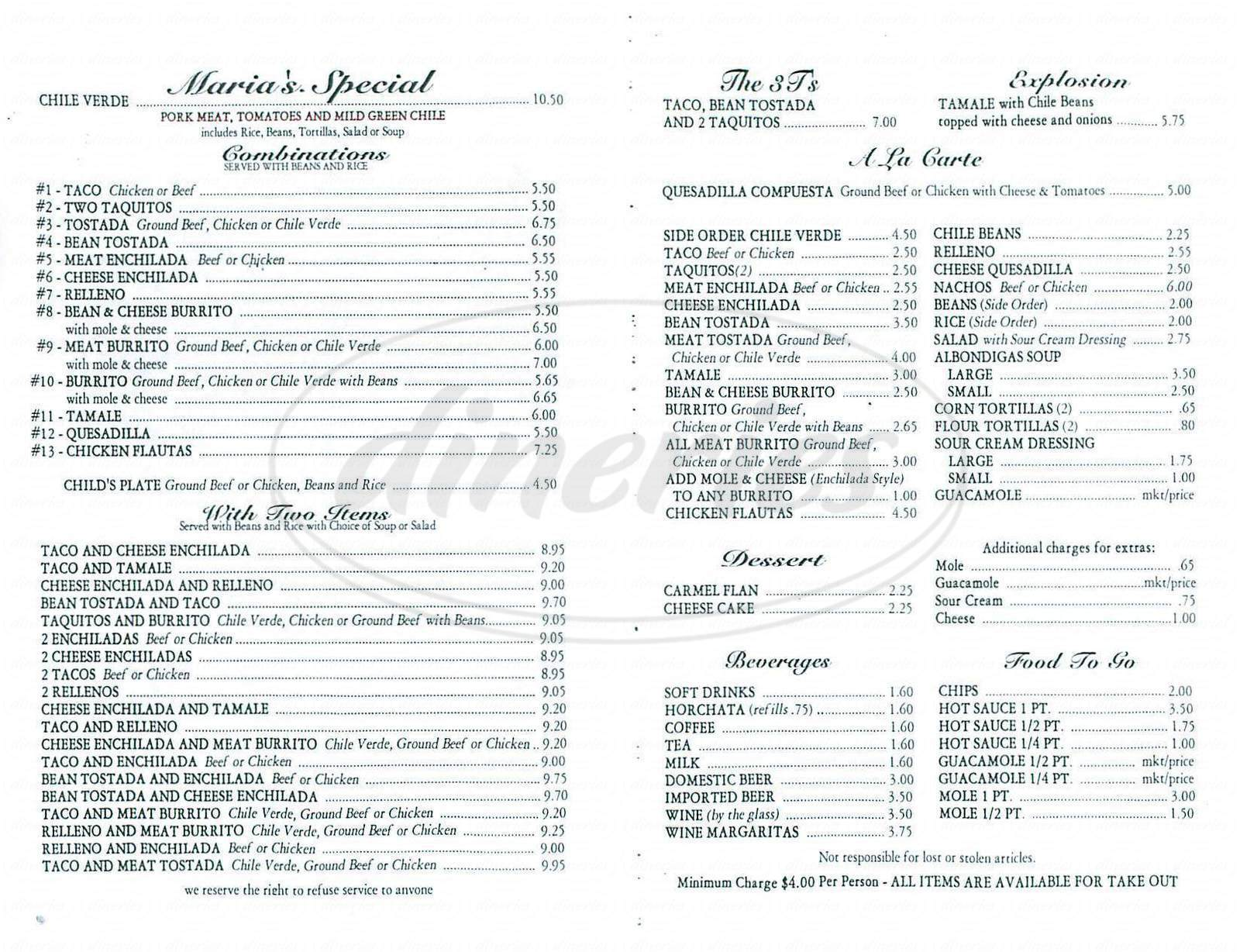 menu for Maria's Mexican Foods