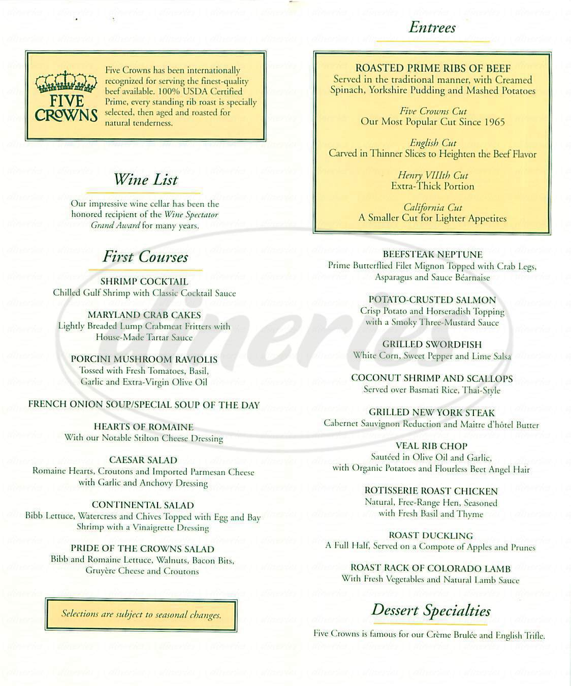 menu for Five Crowns
