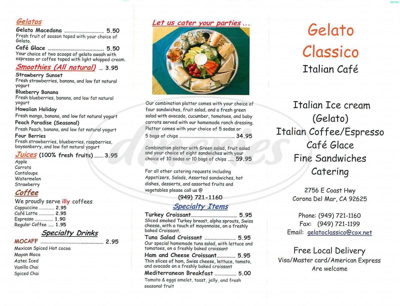 menu for Gelato Classico