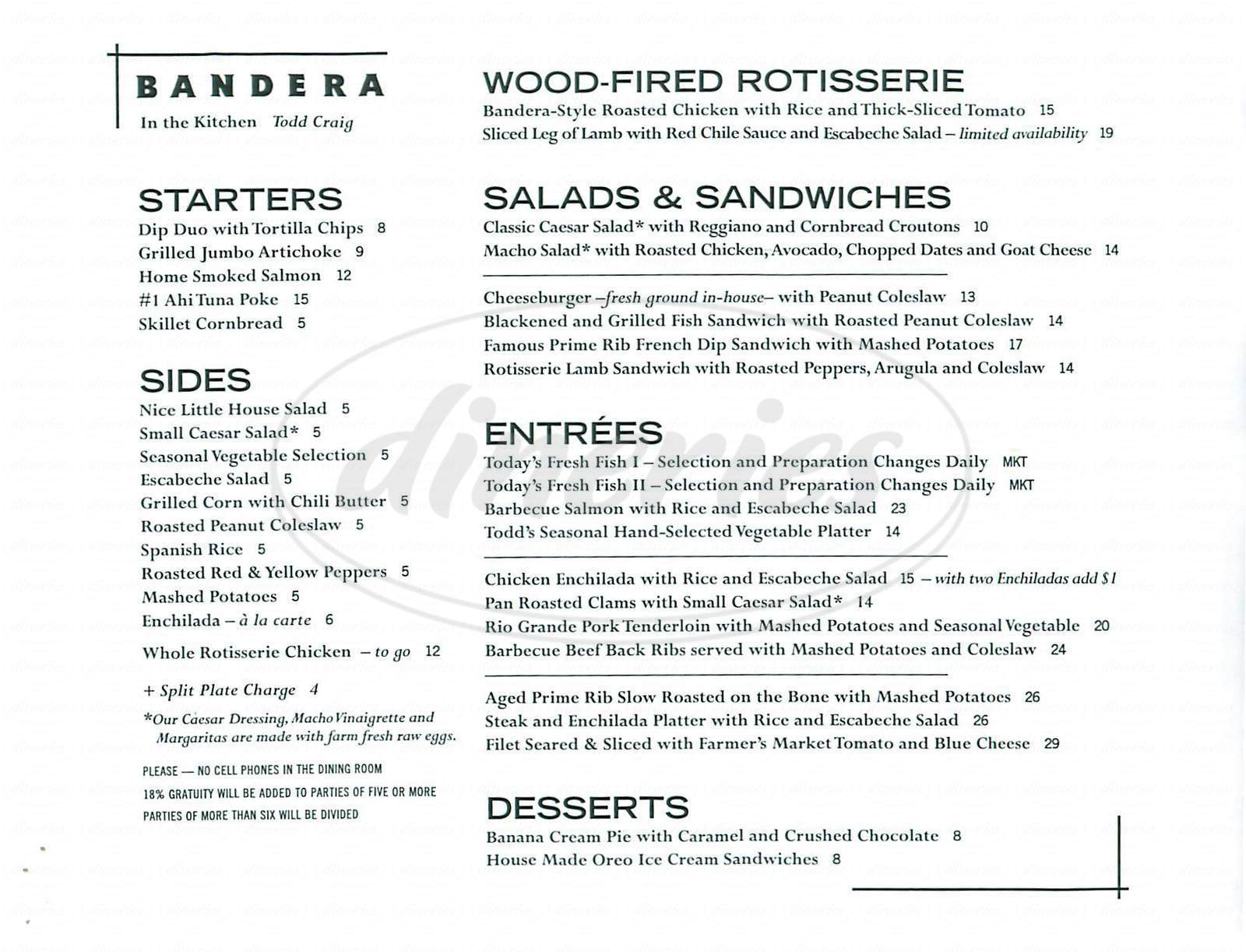 menu for Bandera Restaurant