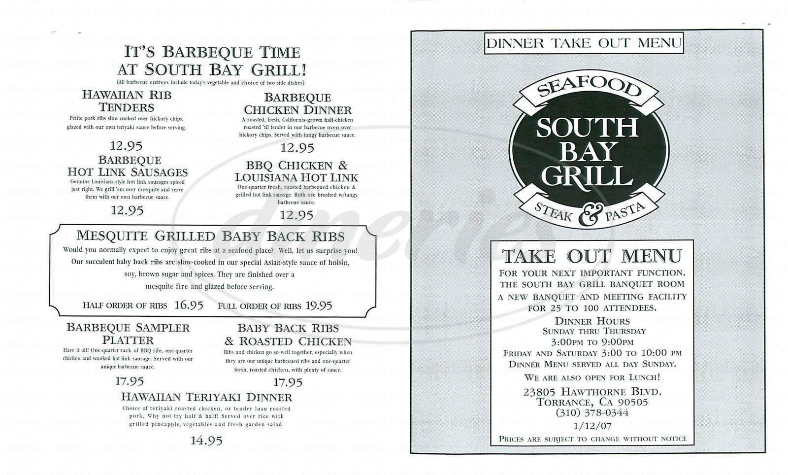 menu for South Bay Grill