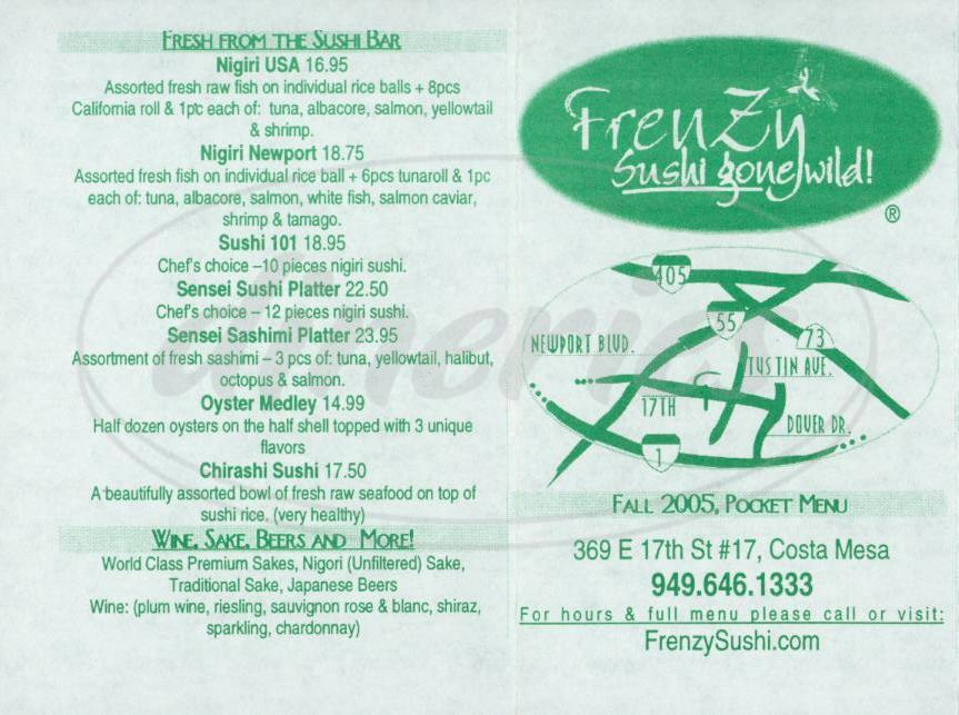 menu for Frenzy Sushi