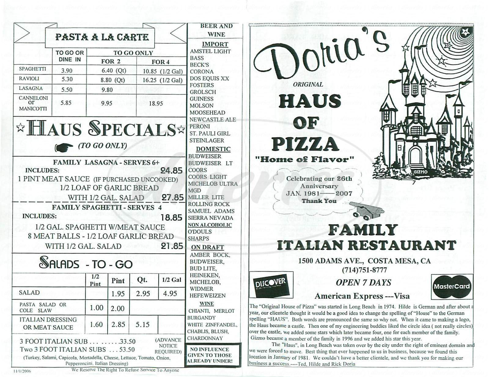 menu for Haus of Pizza