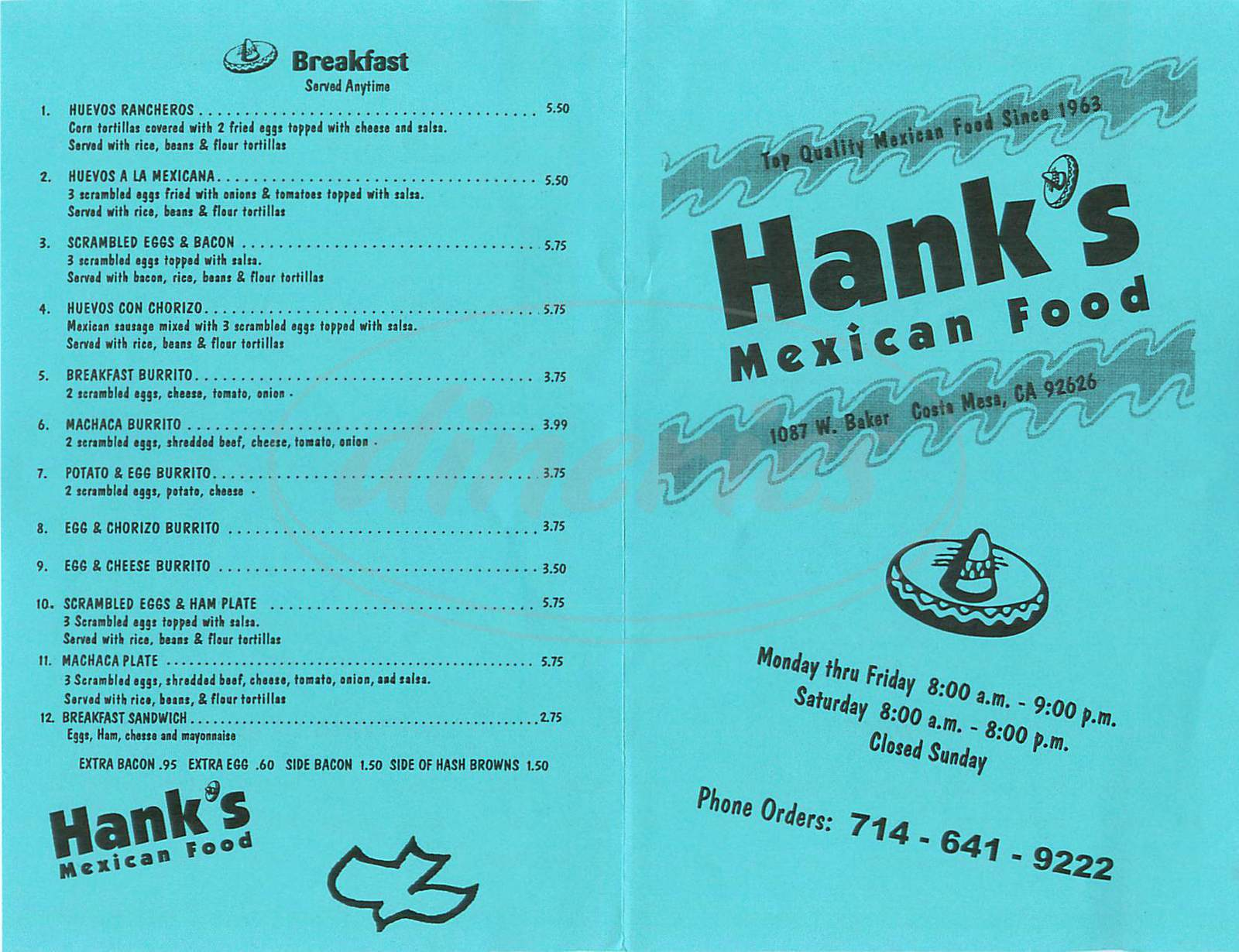 menu for Hanks Mexican Food