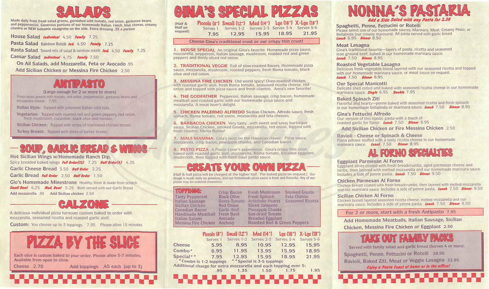 menu for Gina's Pizza & Pastaria