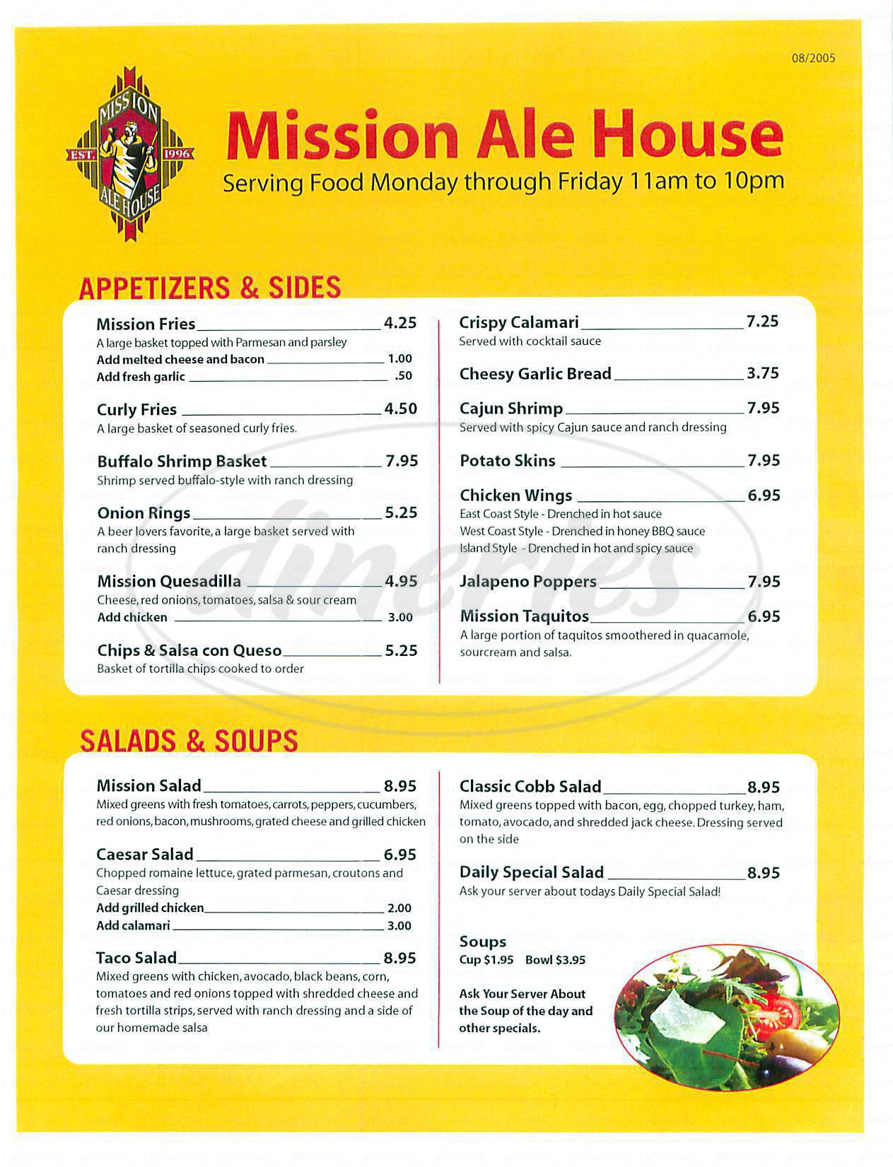 menu for Mission Ale House