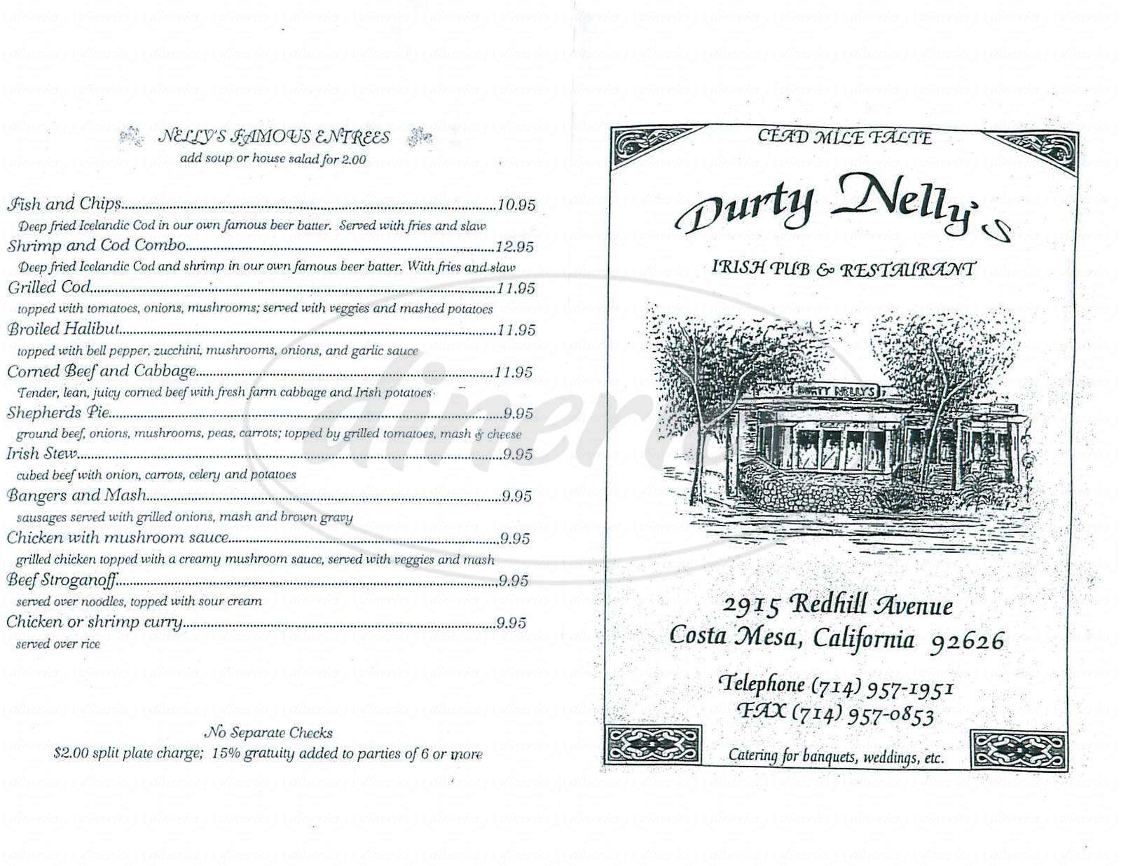 menu for Durty Nellys