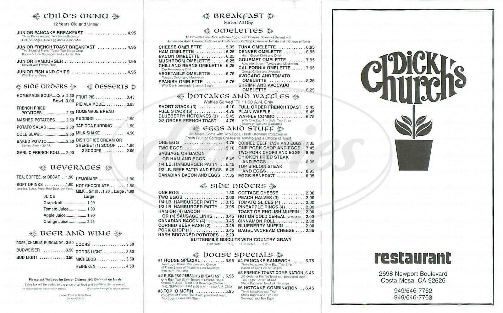 menu for Dick Church's Restaurant