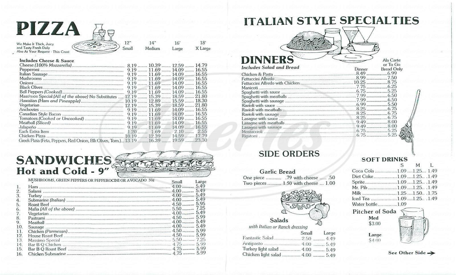 menu for Massimos Pizza