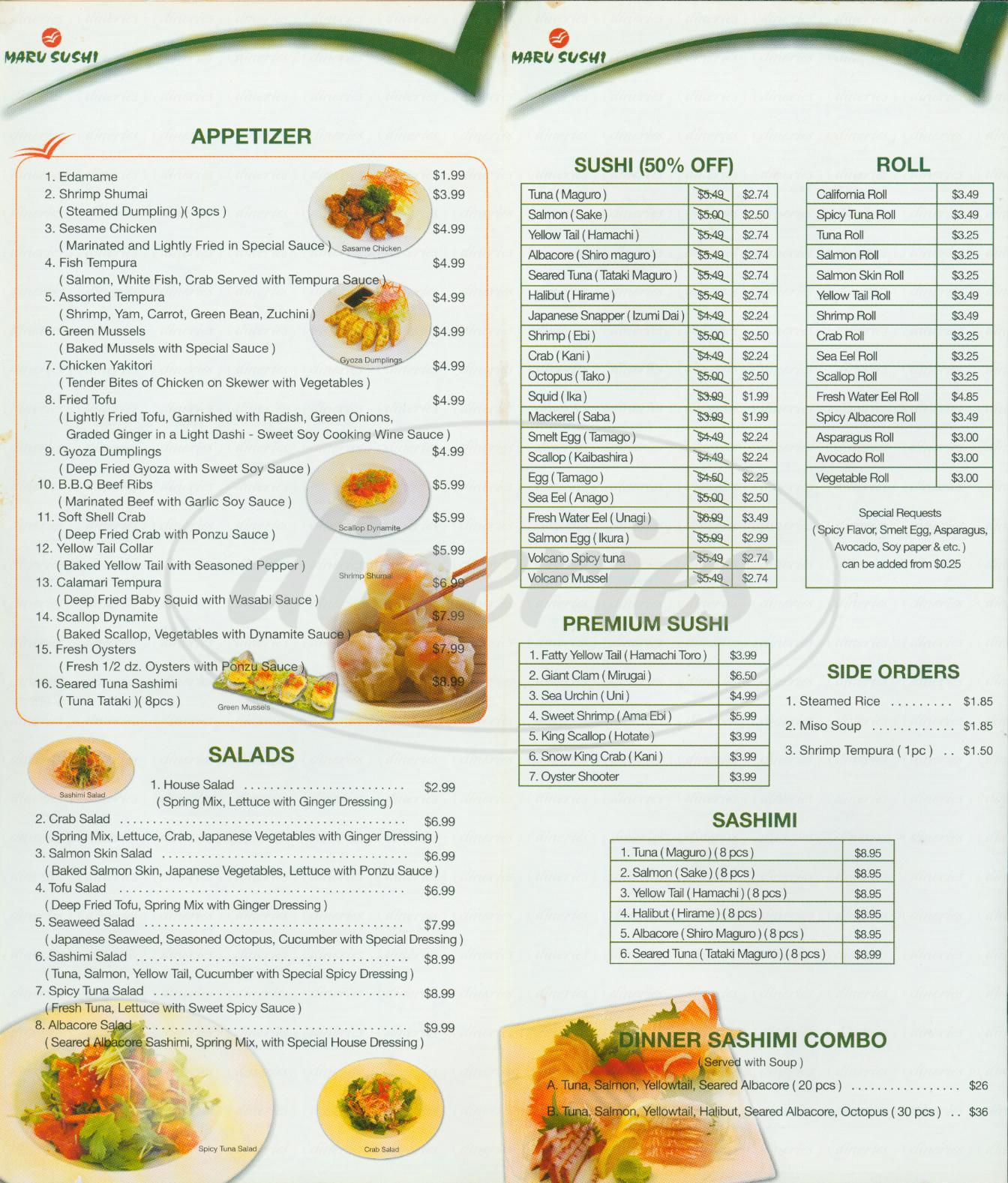 menu for Maru Sushi