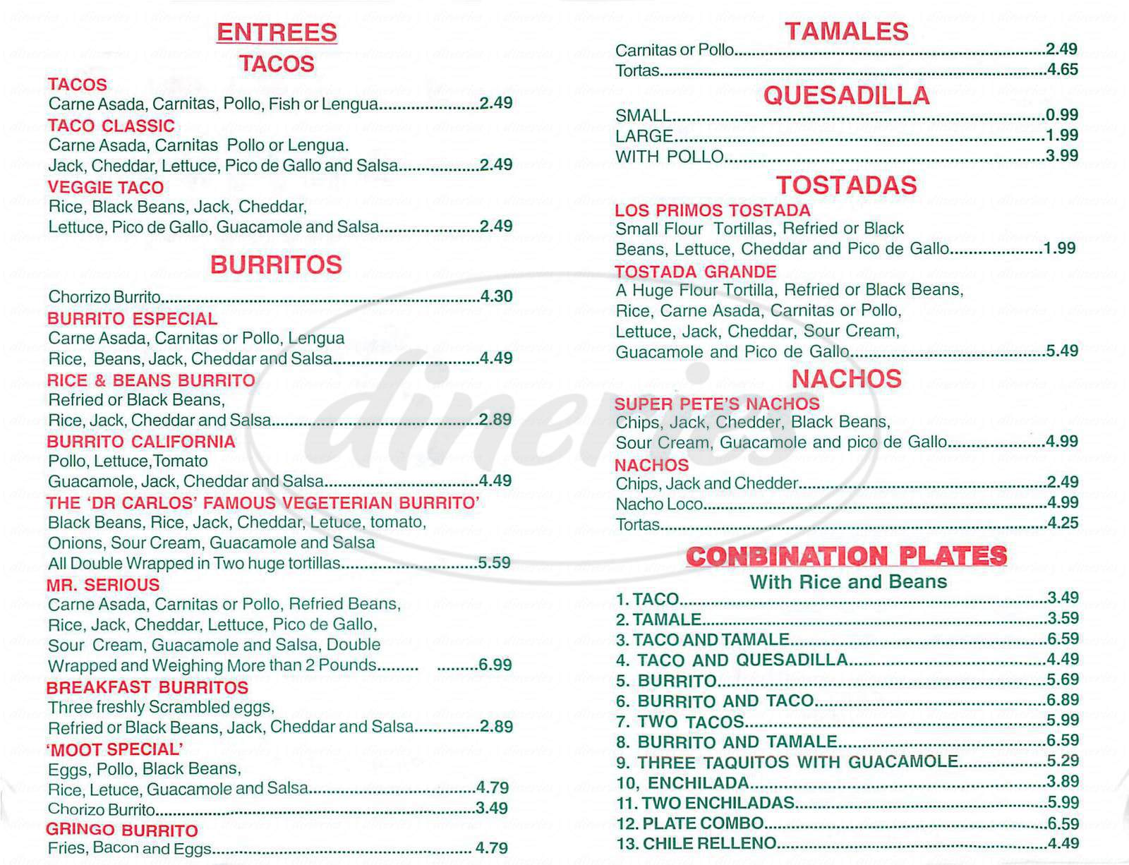 menu for Los Primos Cantina