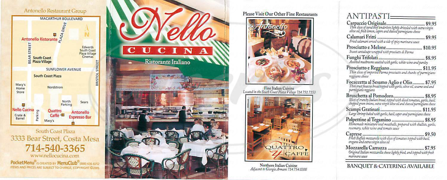 menu for Nello Cuciana