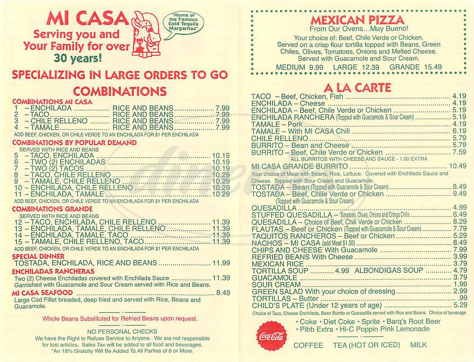 menu for Mi Casa Mexican Restaurant