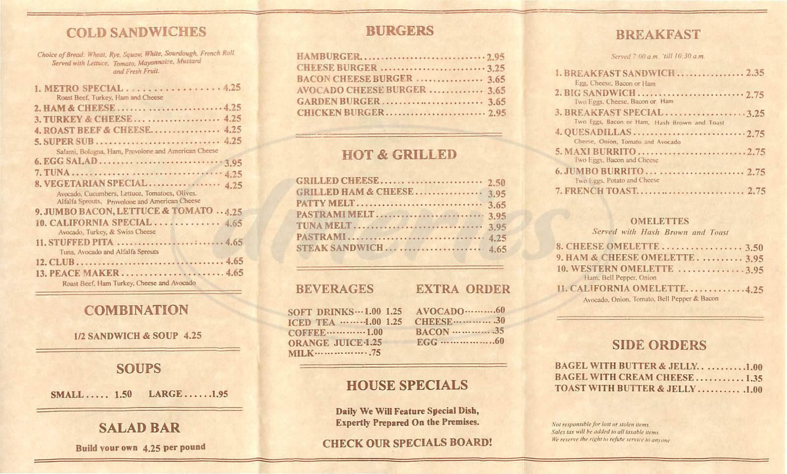menu for Metro Café