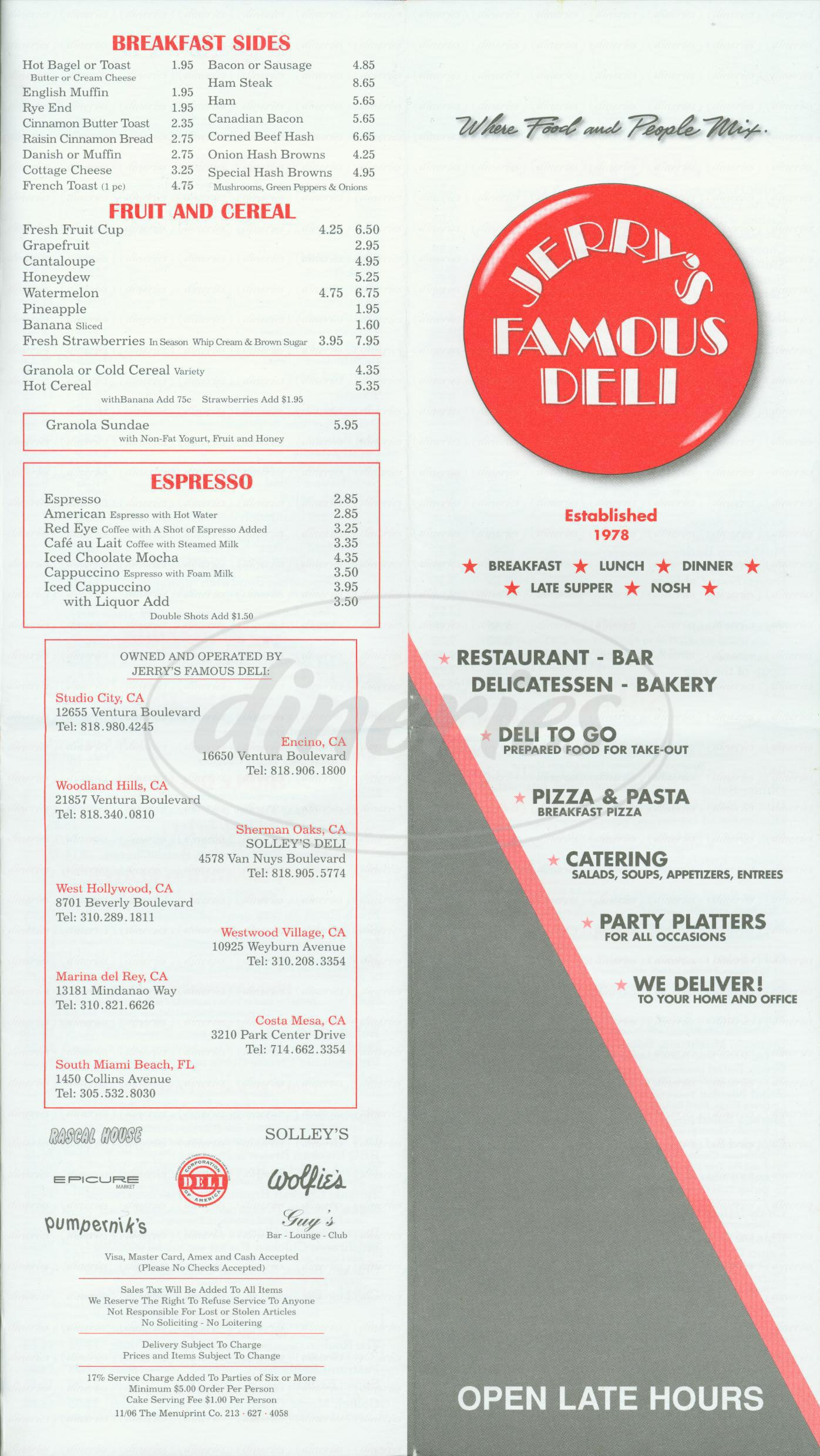 menu for Jerry's Famous Deli