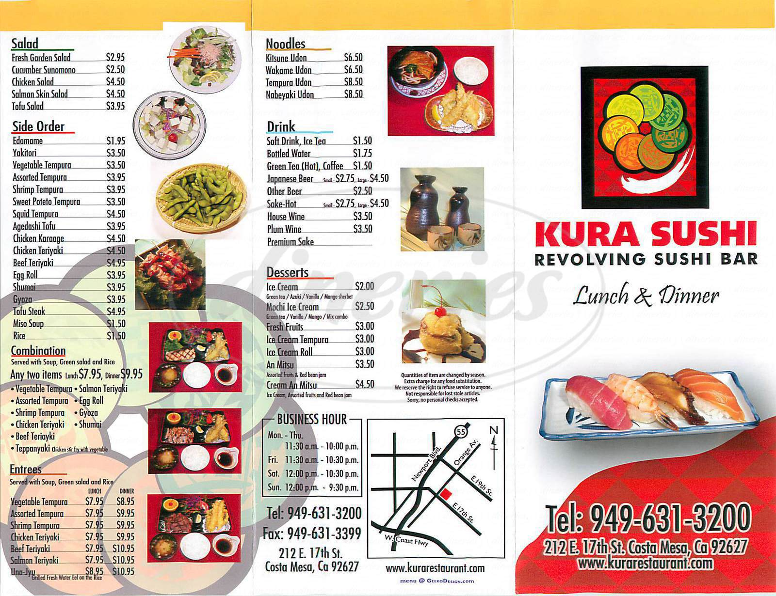 menu for Kura Sushi