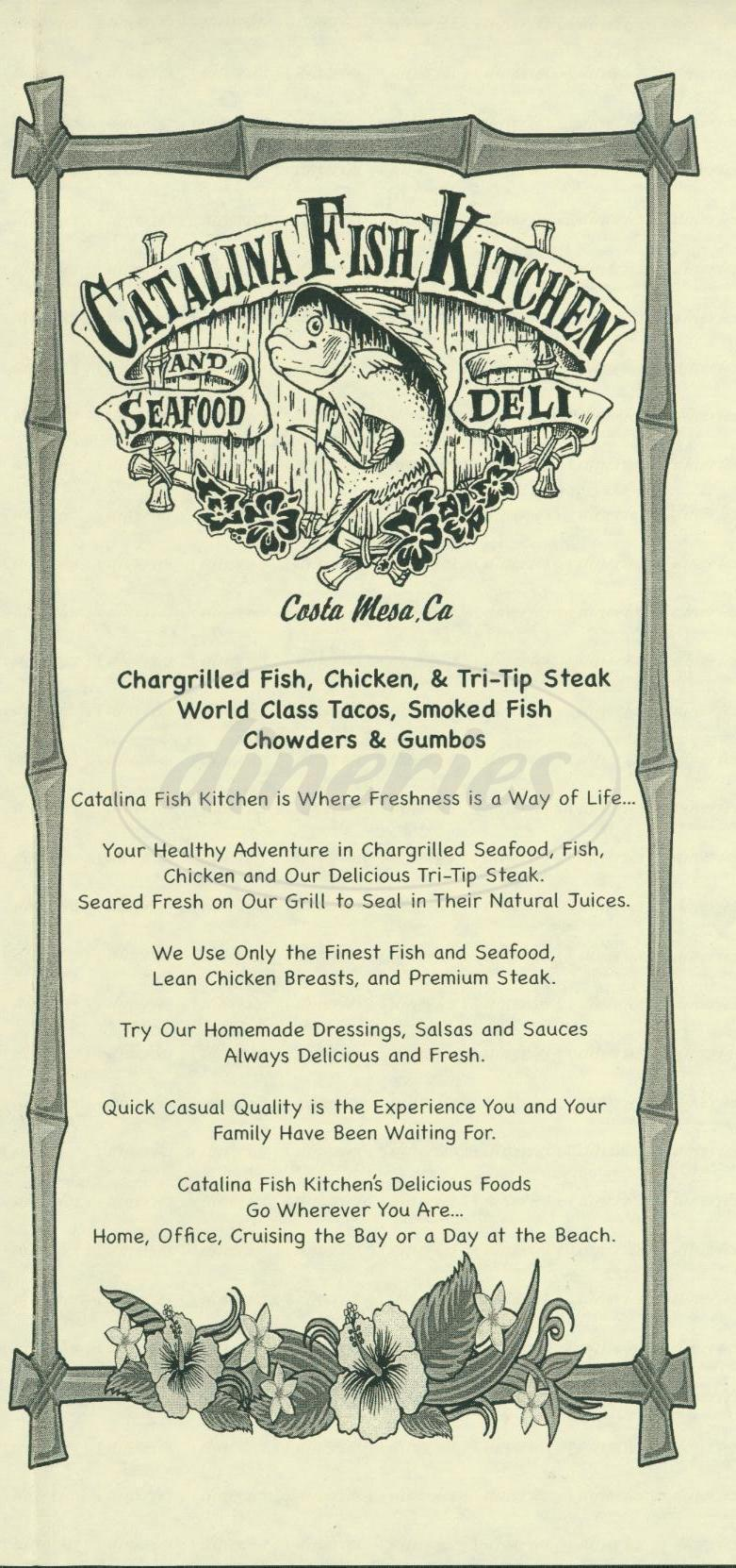menu for Catalina Fish Kitchen