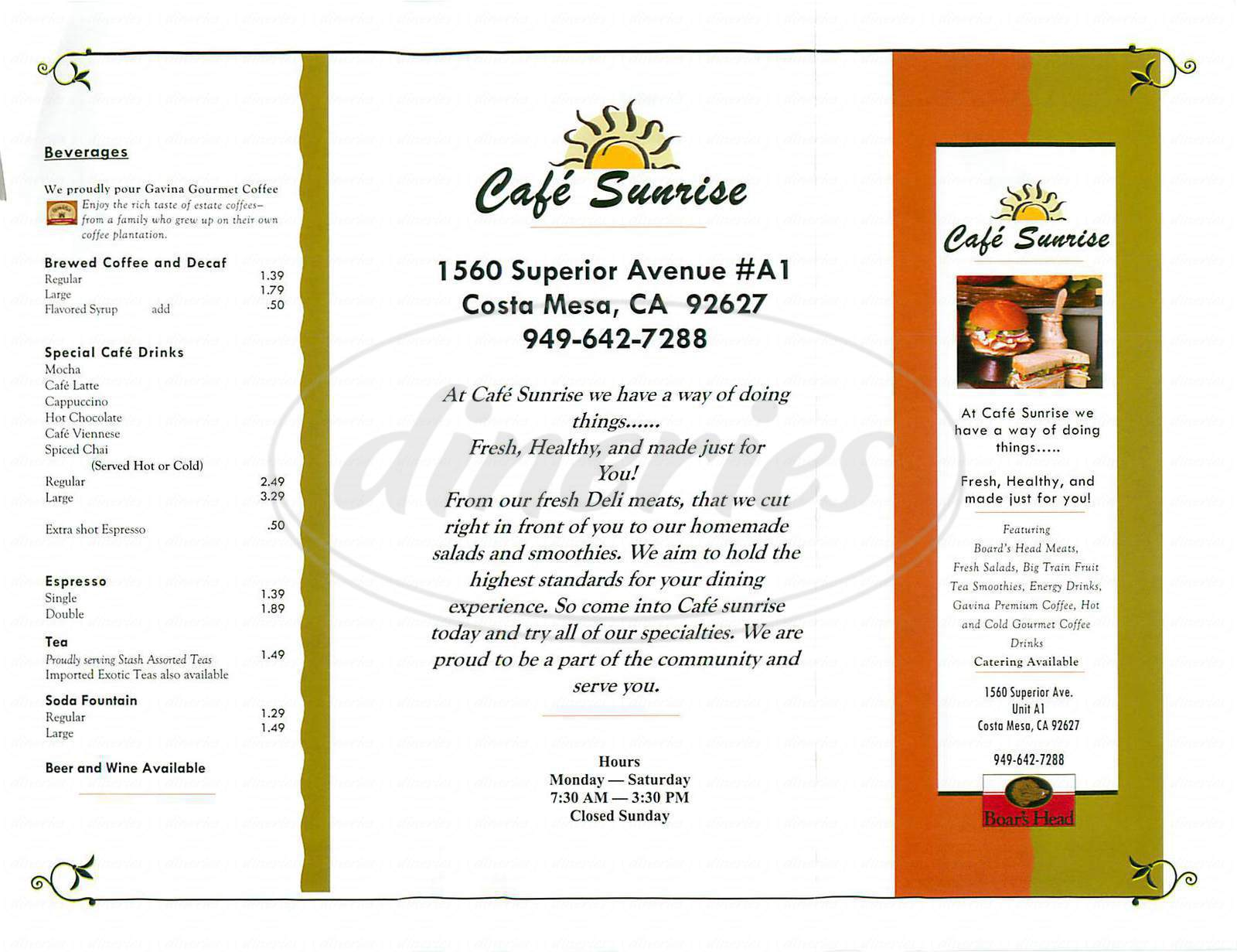 menu for Café Sunrise