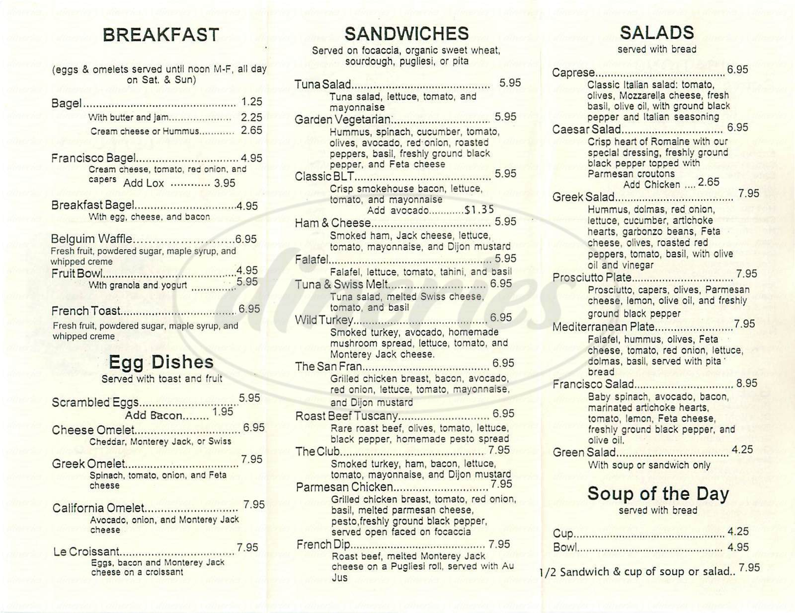 menu for Café Francisco