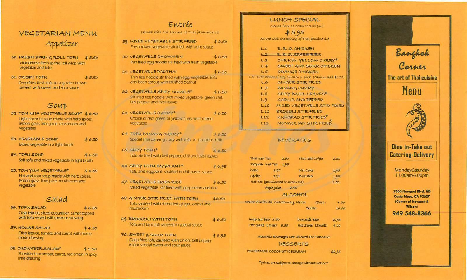 menu for Bangkok Corner