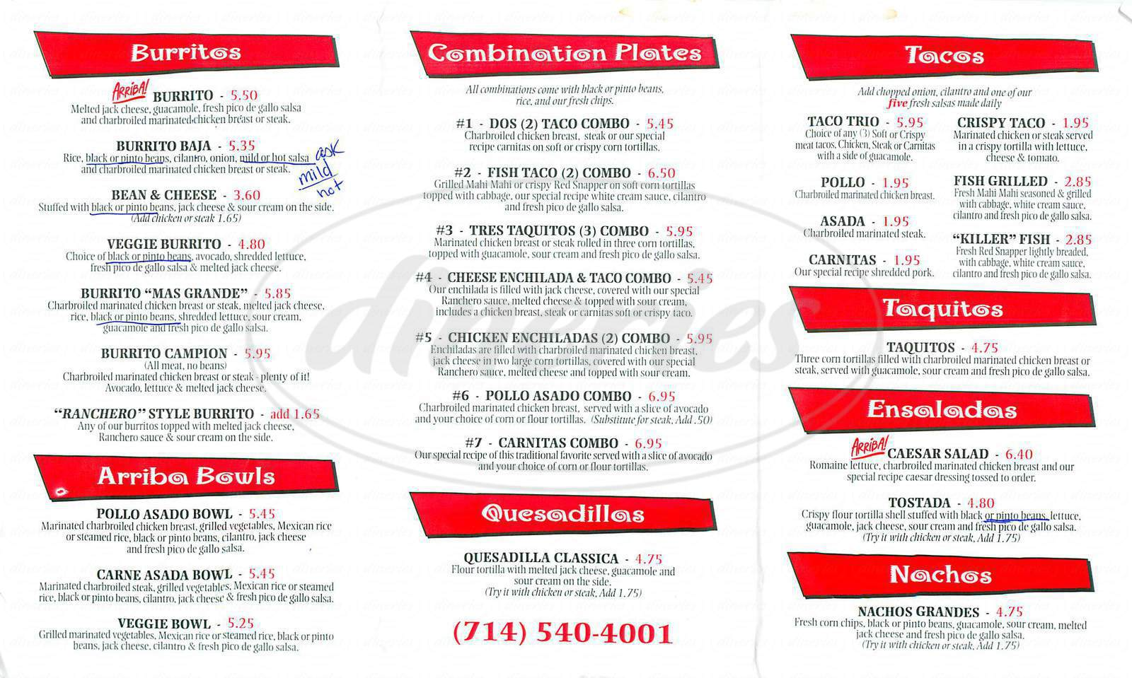 menu for Arriba Baja Grill