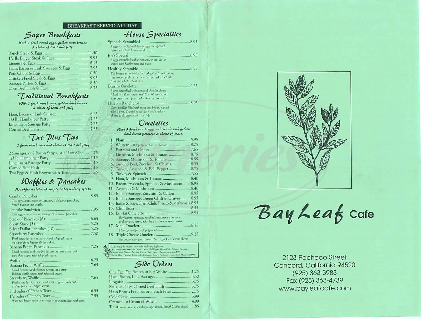 menu for Bay Leaf Café