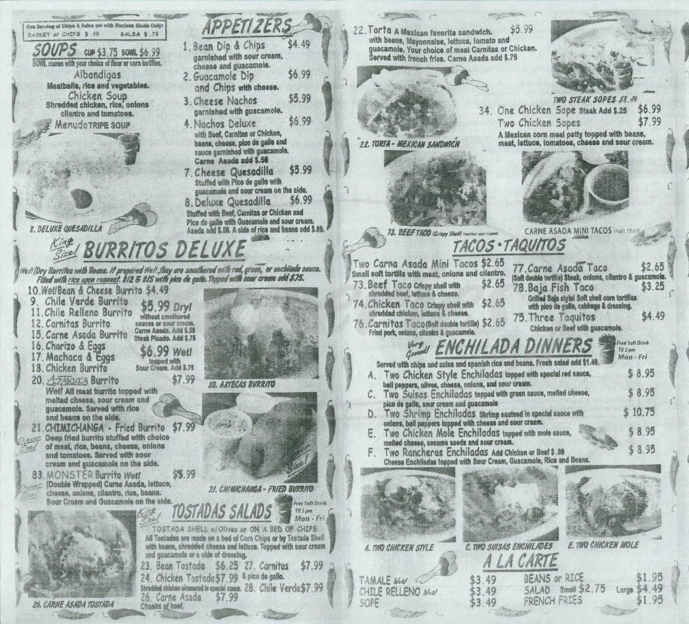 menu for Aztecas Mexican Food
