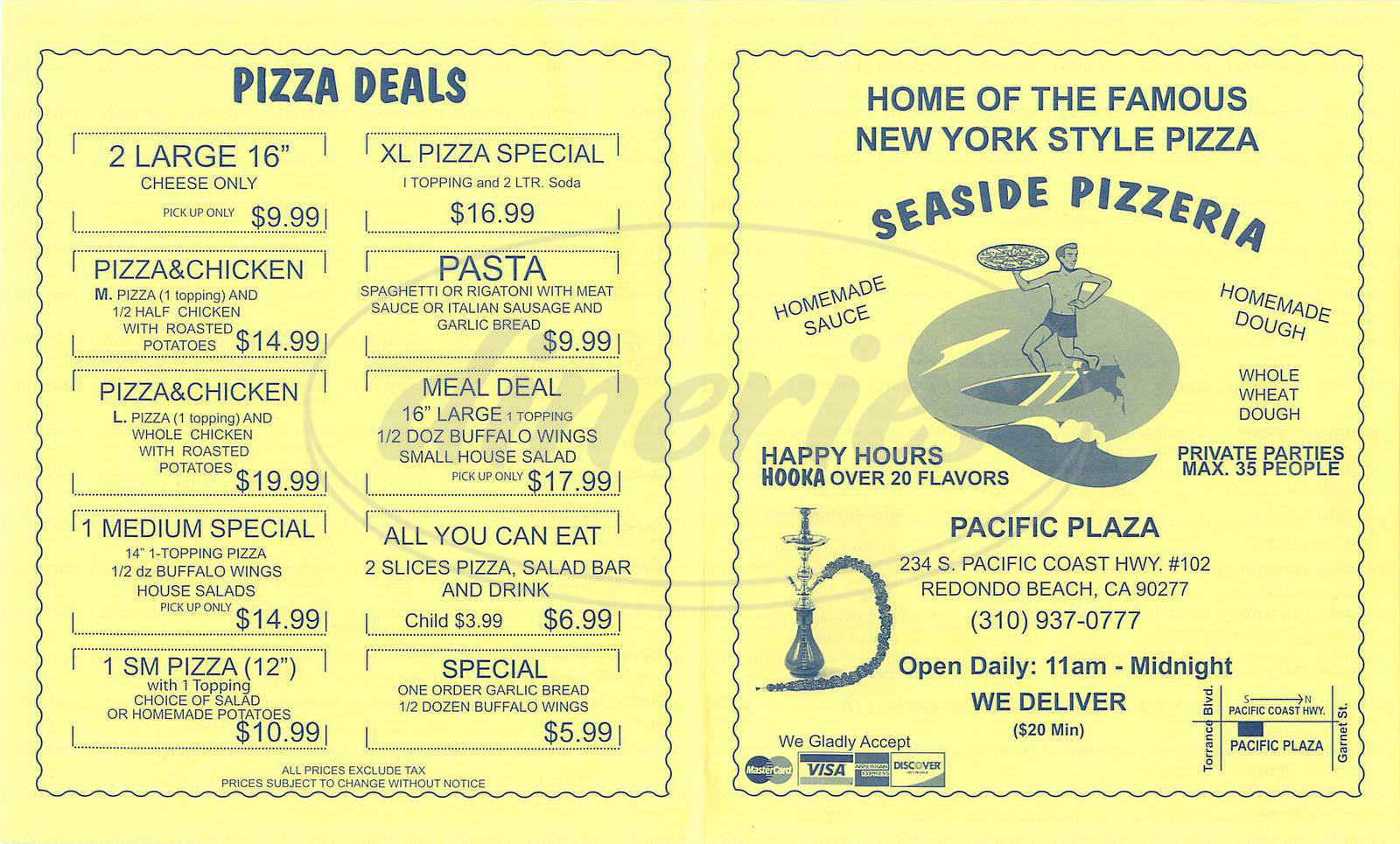 menu for Seaside Pizzeria