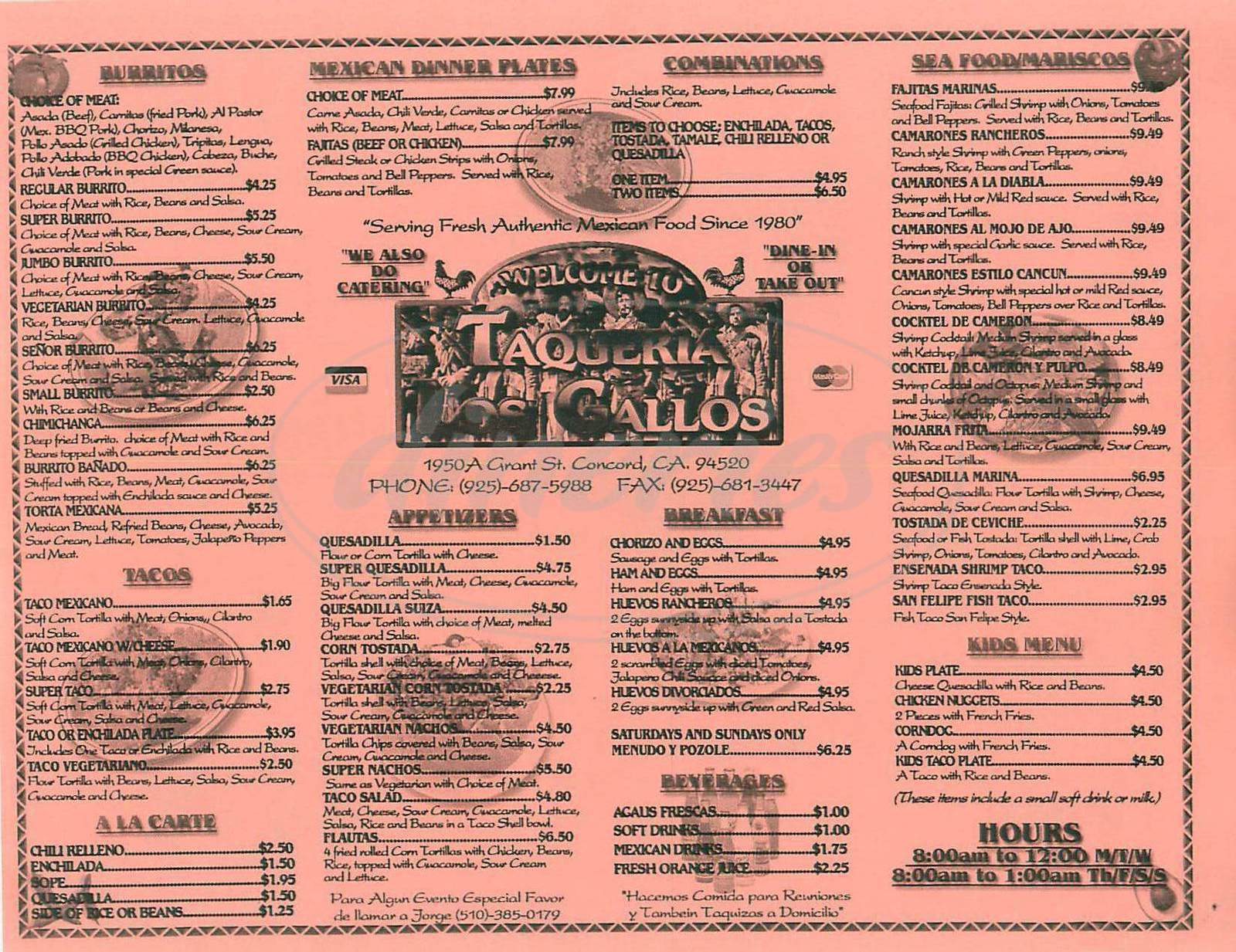 menu for Taqueria Los Gallos