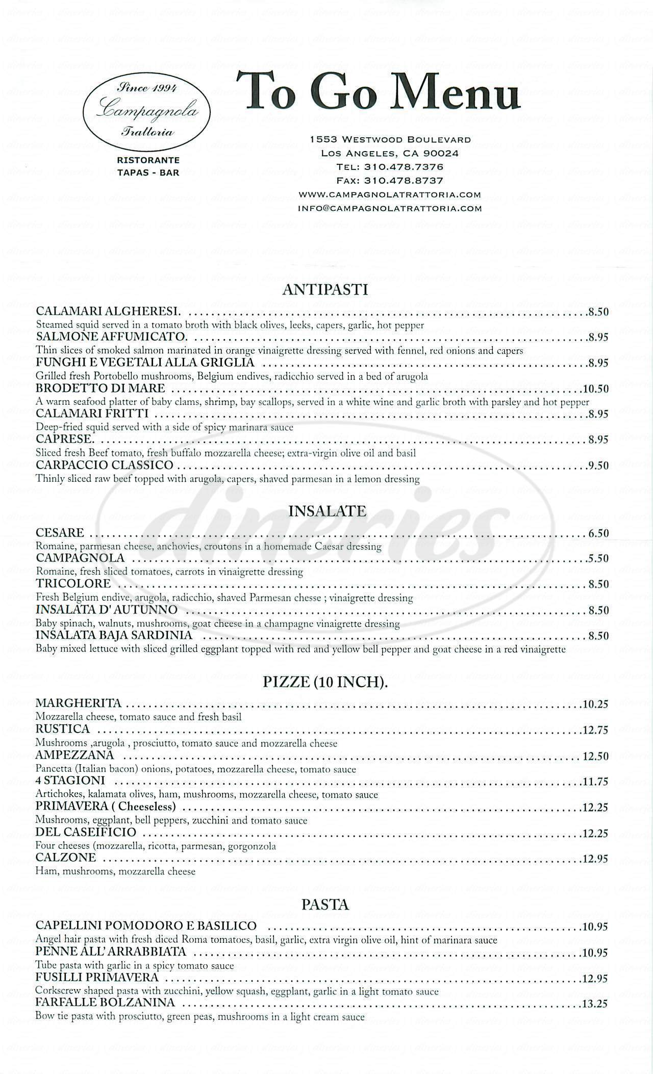 menu for Campagnola Trattoria