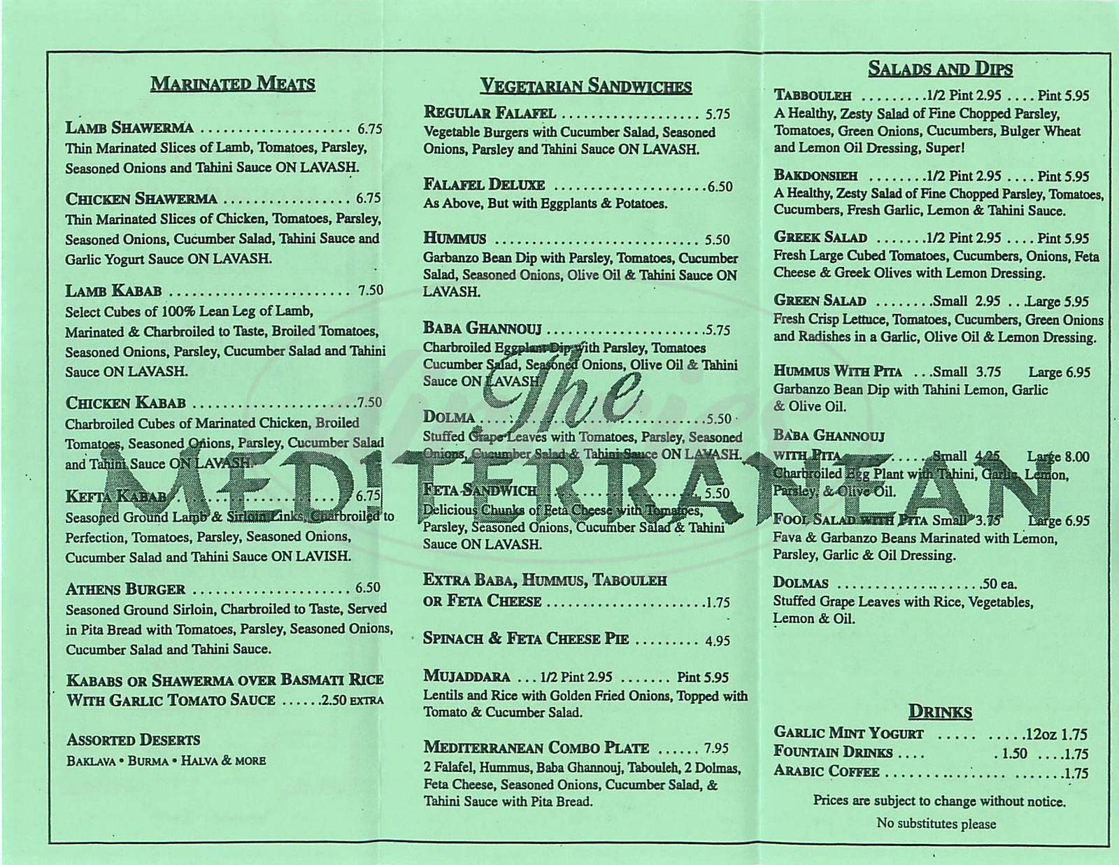 menu for The Mediterranean
