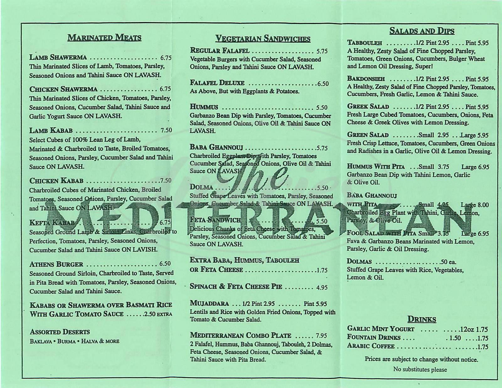 menu for The Mediterranean