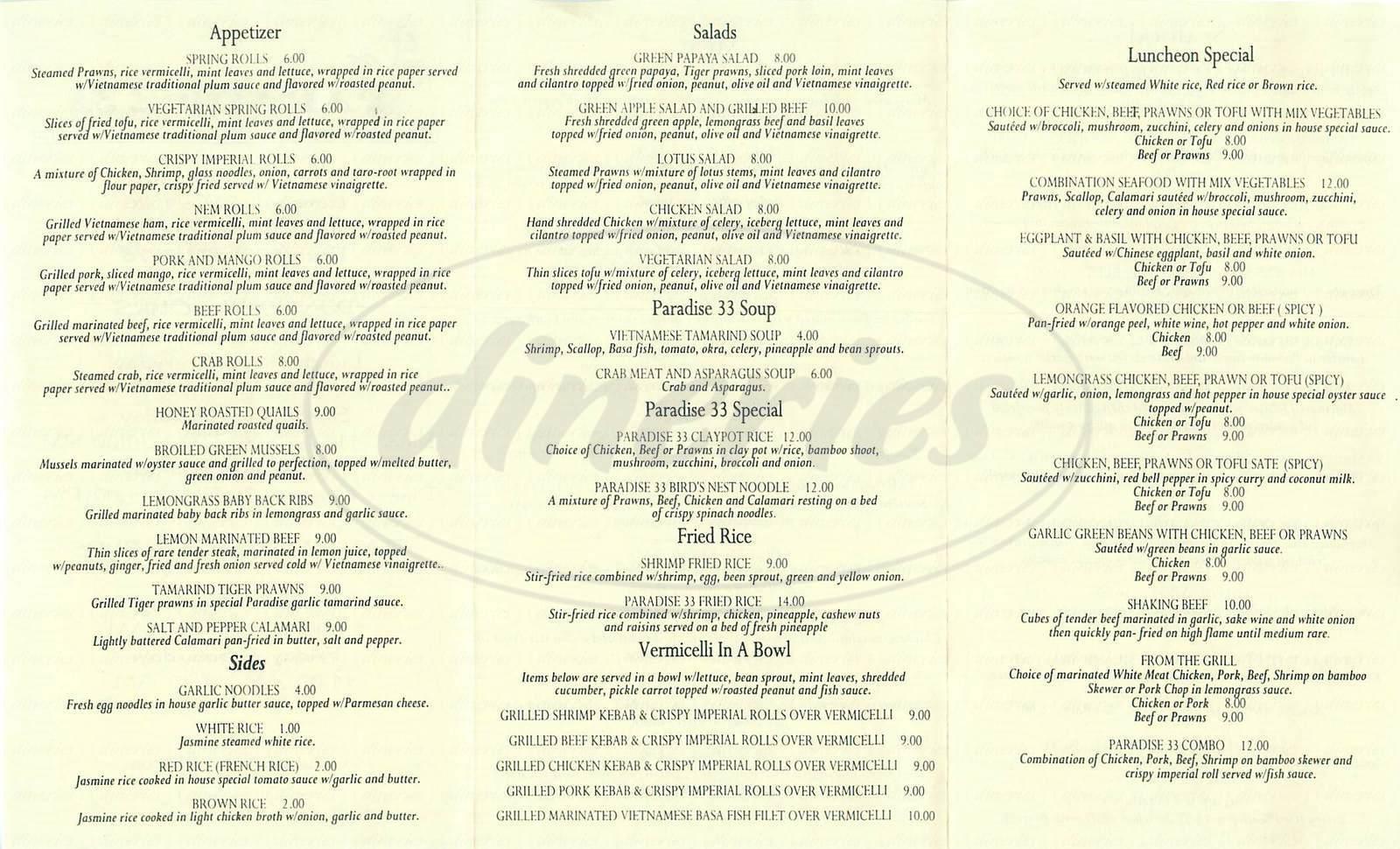 menu for Paradise 33