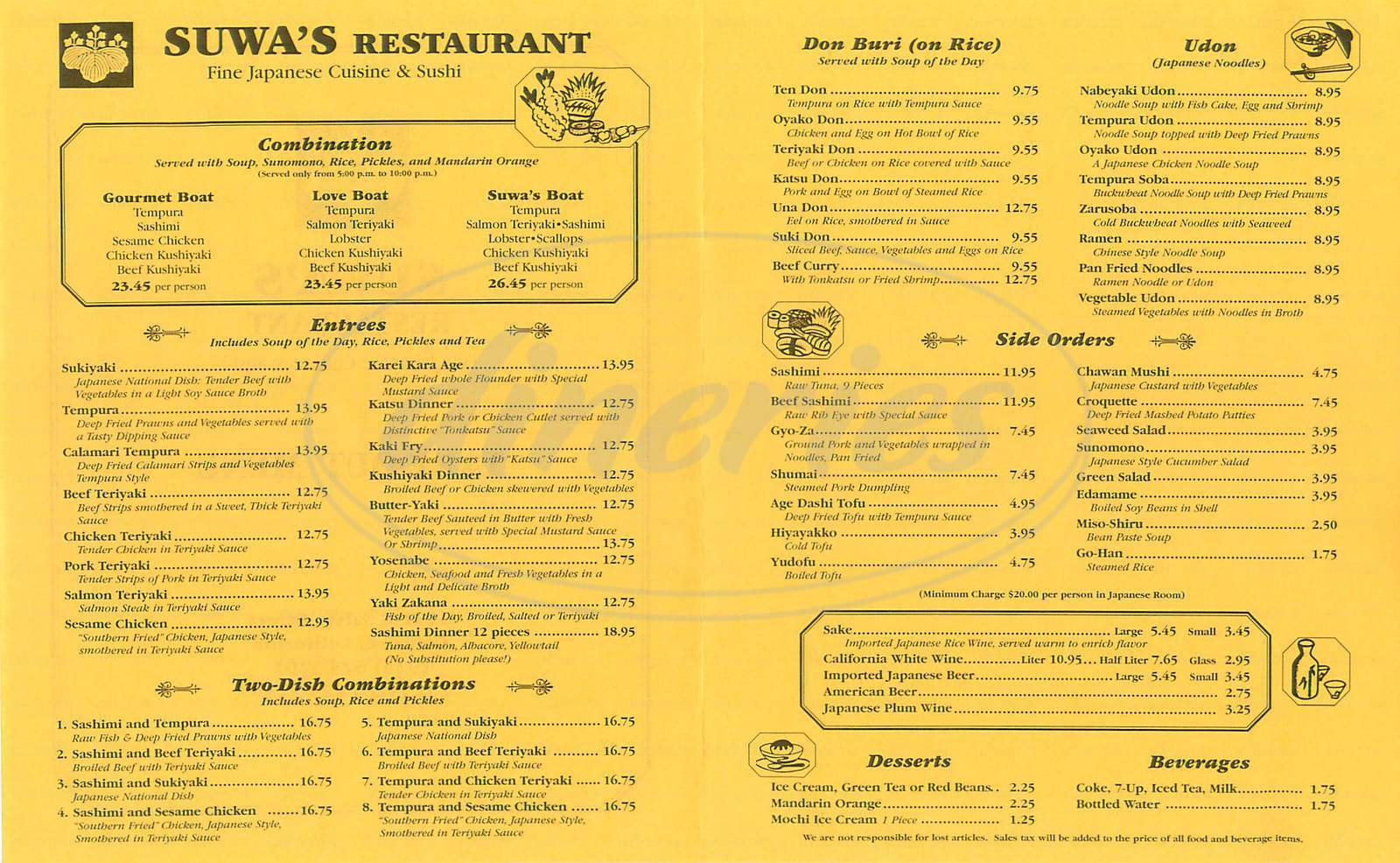 menu for Suwa's Japanese Restaurant