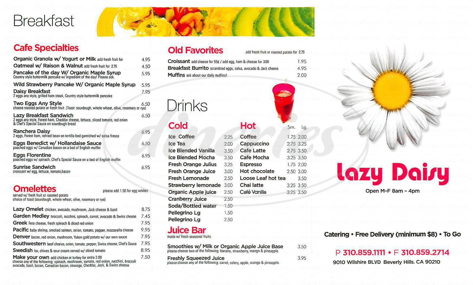 menu for Lazy Daisy Café