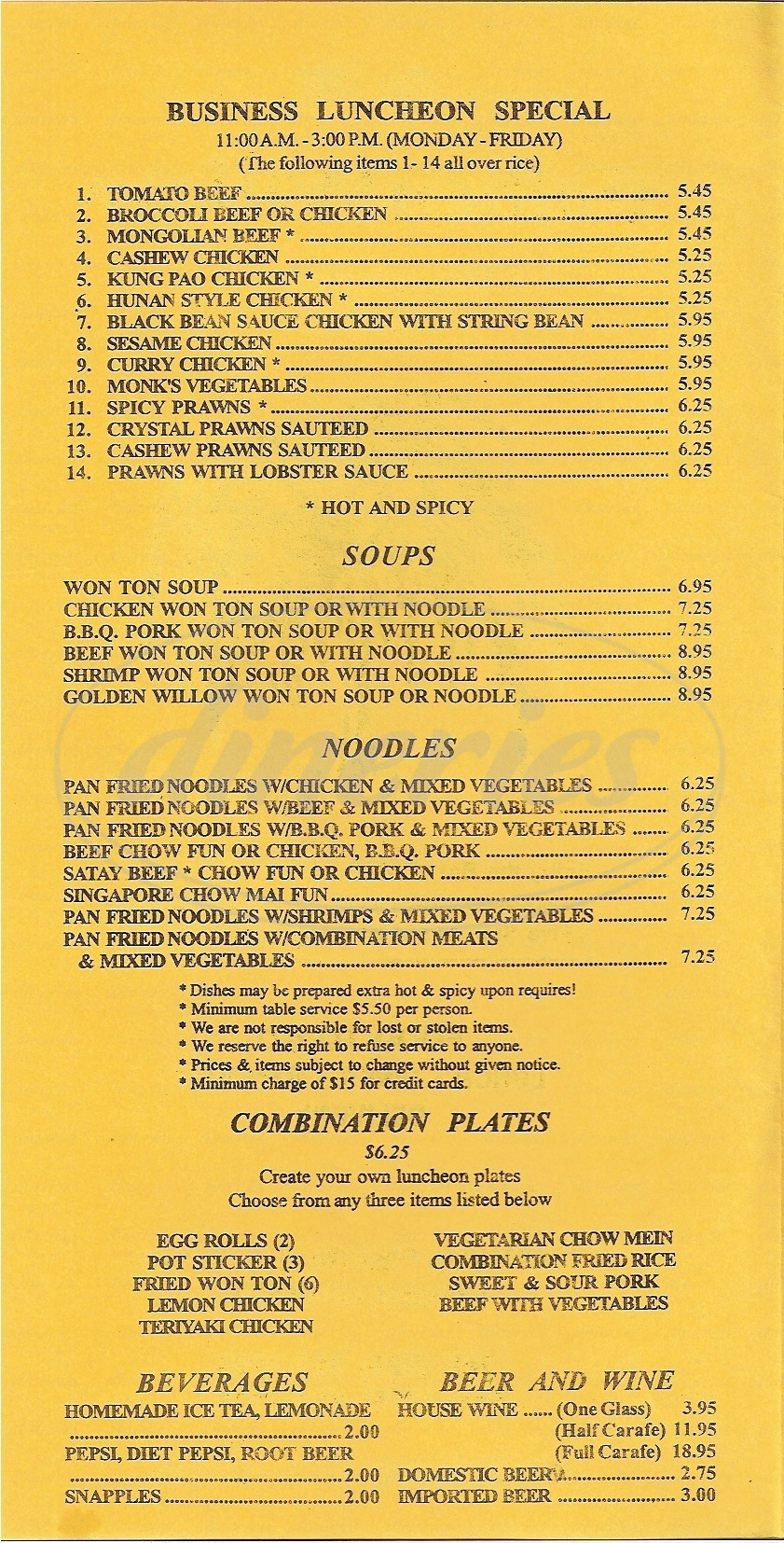 menu for Golden Willow
